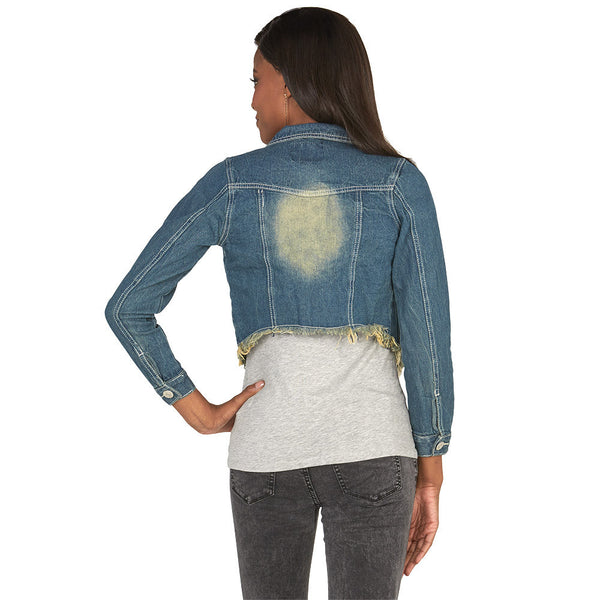 Crop It Don't Stop Cropped Denim Jacket With Frayed Hem - Citi Trends Plus and Juniors - Back