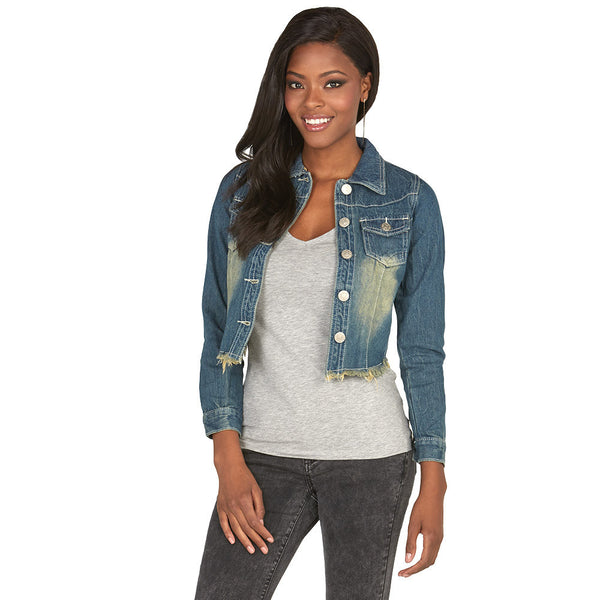Crop It Don't Stop Cropped Denim Jacket With Frayed Hem - Citi Trends Plus and Juniors - Front