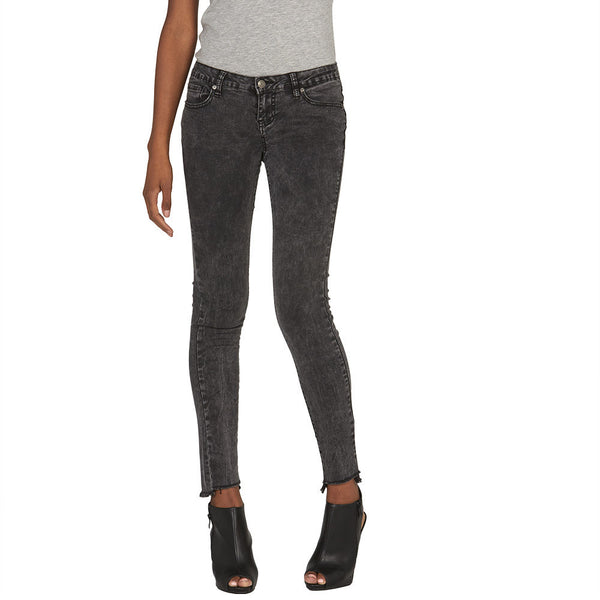 Fade To Black Skinny Jean With Frayed Hem - Citi Trends Juniors and Plus - Front
