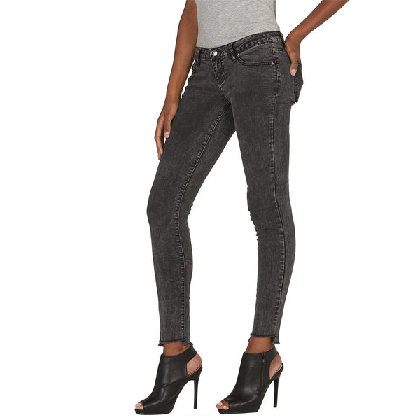 Fade To Black Skinny Jean With Frayed Hem - Citi Trends Juniors and Plus - Side