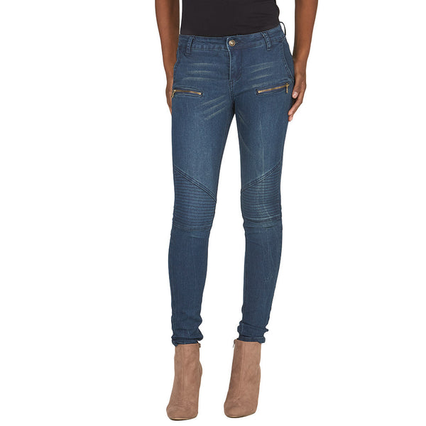 Moto Mood Dark Wash Skinny Jean - Citi Trends Juniors and Plus - Front
