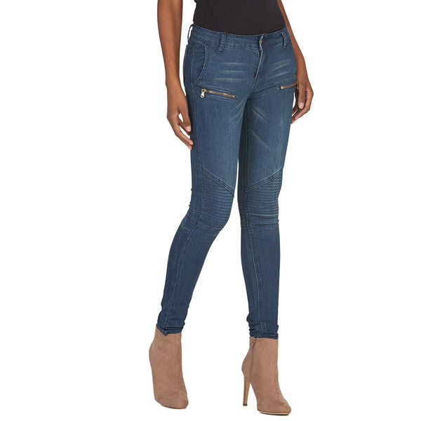 Moto Mood Dark Wash Skinny Jean - Citi Trends Juniors and Plus - Side