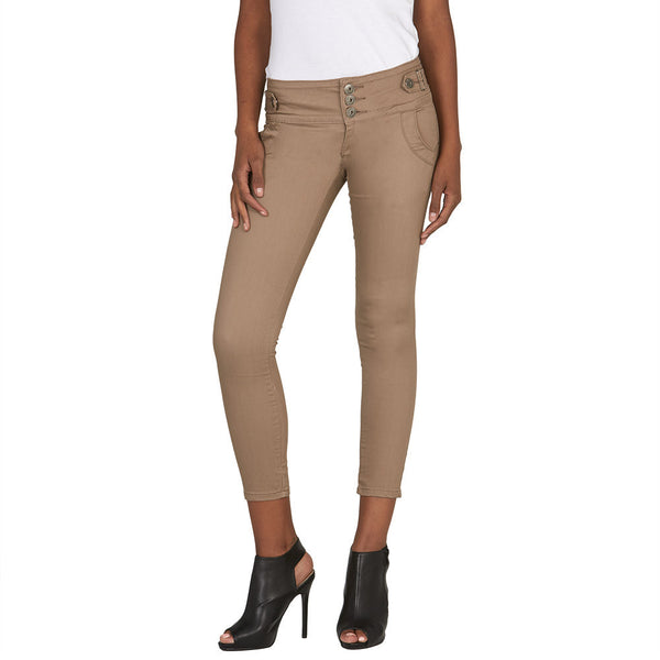 Buckle Up Khaki Skinny Ankle Pant - Citi Trends Juniors and Plus - Front