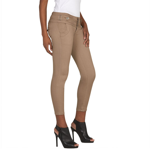 Buckle Up Khaki Skinny Ankle Pant - Citi Trends Juniors and Plus - Side