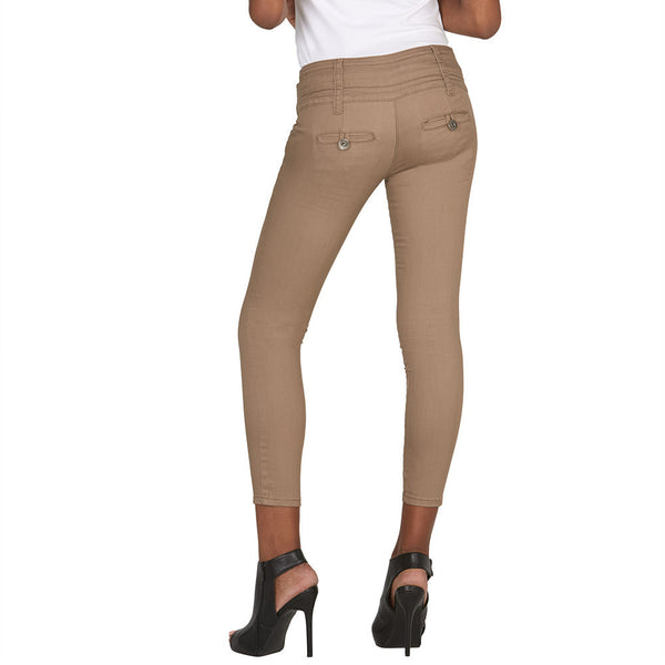 Buckle Up Khaki Skinny Ankle Pant - Citi Trends Juniors and Plus - Back