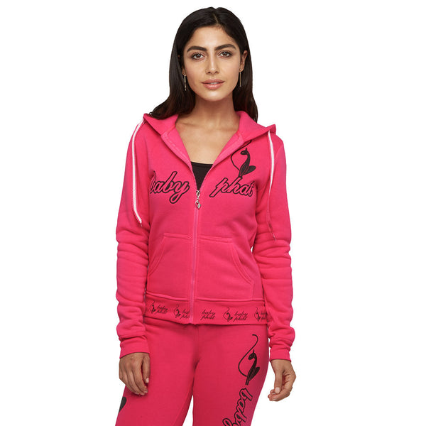 Packs A Punch Baby Phat Neon Fuschia Fleece Hoodie - Citi Trends Plus and Juniors - Front