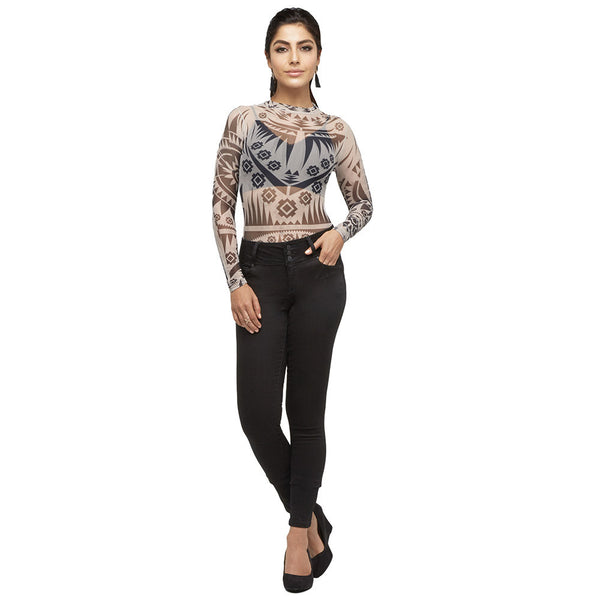 Black/Taupe Aztec Print Mock Neck Mesh Bodysuit - Citi Trends Juniors - Front