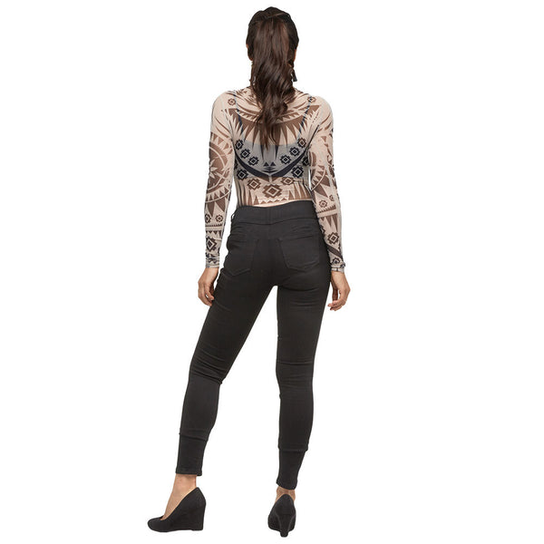 Black/Taupe Aztec Print Mock Neck Mesh Bodysuit - Citi Trends Juniors - Back