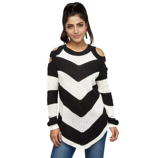 Black/White Striped Cold Shoulder Sweater - Citi Trends Juniors and Plus - Front