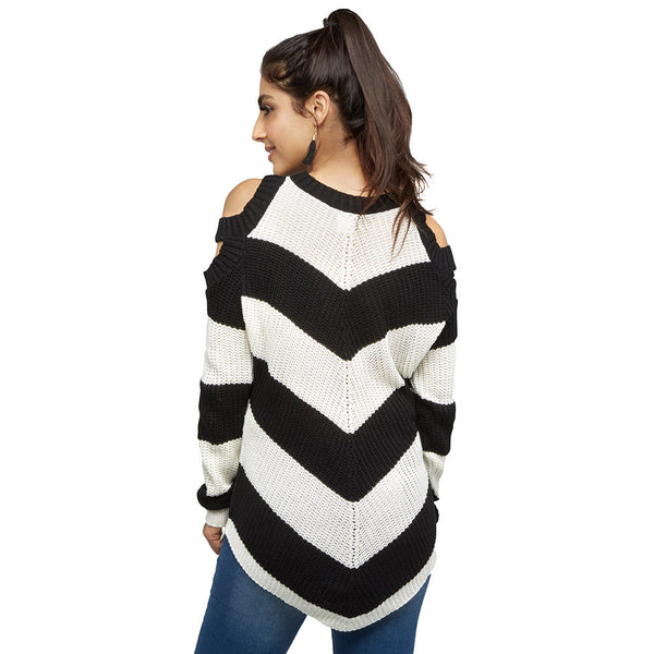 Black/White Striped Cold Shoulder Sweater - Citi Trends Juniors and Plus - Back