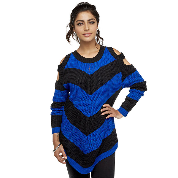 Black/Blue Striped Cold Shoulder Sweater - Citi Trends Juniors and Plus - Front
