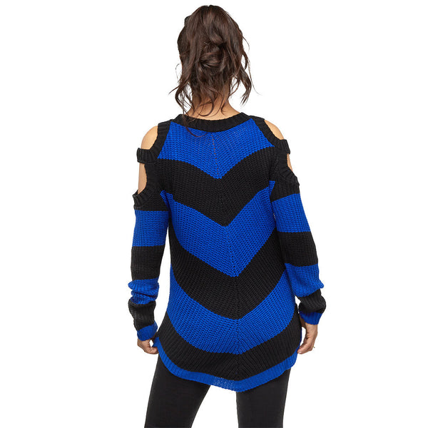 Black/Blue Striped Cold Shoulder Sweater - Citi Trends Juniors and Plus - Back