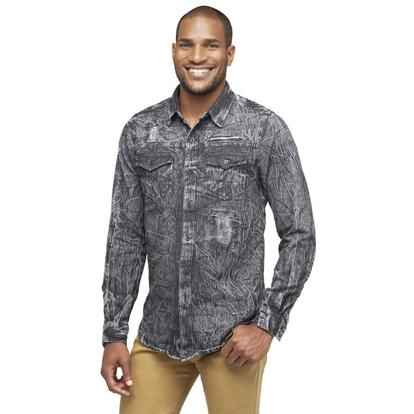 A Crinkle In Time Black Distressed Denim Button-Down - Citi Trends Mens - Front
