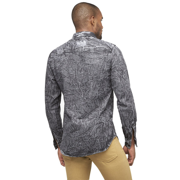 A Crinkle In Time Black Distressed Denim Button-Up - Citi Trends Mens - Back