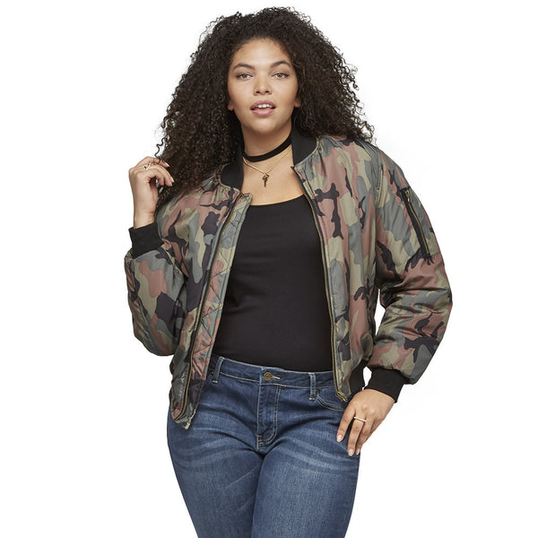 The Bomb Dot Com Camo Bomber Jacket - Citi Trends Ladies and Plus - Front