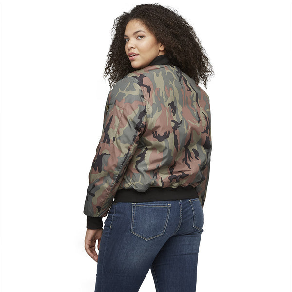 The Bomb Dot Com Camo Bomber Jacket - Citi Trends Ladies and Plus - Back