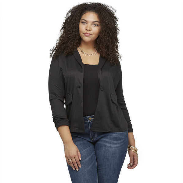 Sleeks For Itself Ruched Black Blazer - Citi Trends Ladies and Plus - Front