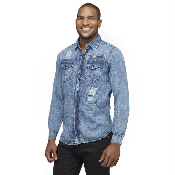 A Crinkle In Time Blue Distressed Denim Button-Down - Citi Trends Mens - Front