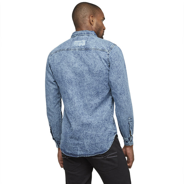 A Crinkle In Time Blue Distressed Denim Button-Up - Citi Trends Mens - Back