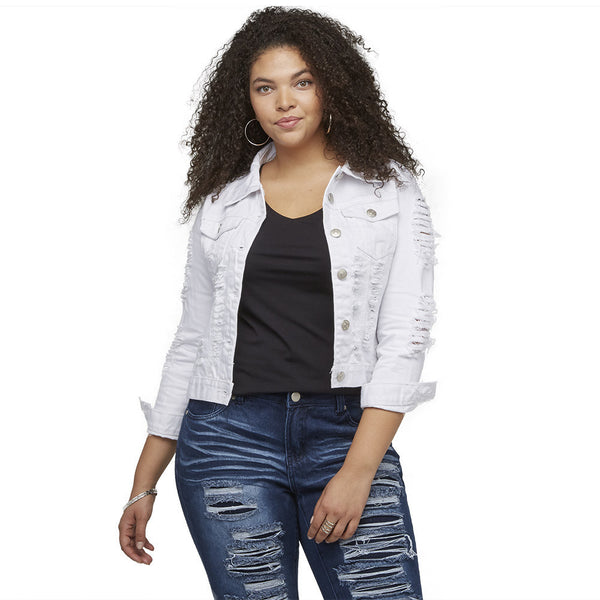 A Tear For Fashion White Denim Jacket - Citi Trends Ladies and Plus - Front