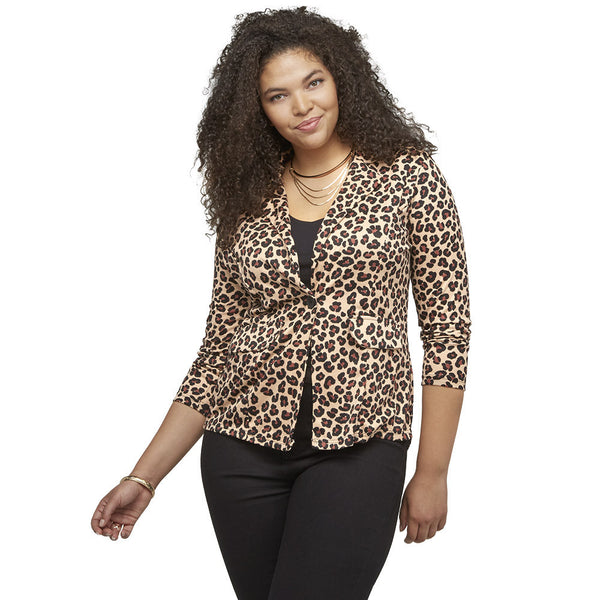 The Wild Side Leopard Print Blazer With Lace Back - Citi Trends Ladies and Plus - Front