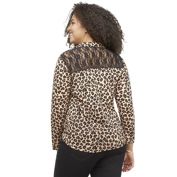 The Wild Side Leopard Print Blazer With Lace Back - Citi Trends Ladies and Plus - Back