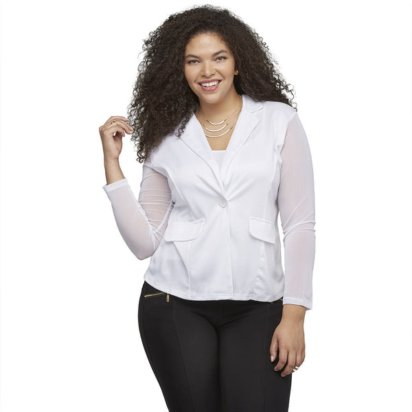 Sheer Up White Blazer With Mesh Sleeves - Citi Trends Ladies and Plus - Front