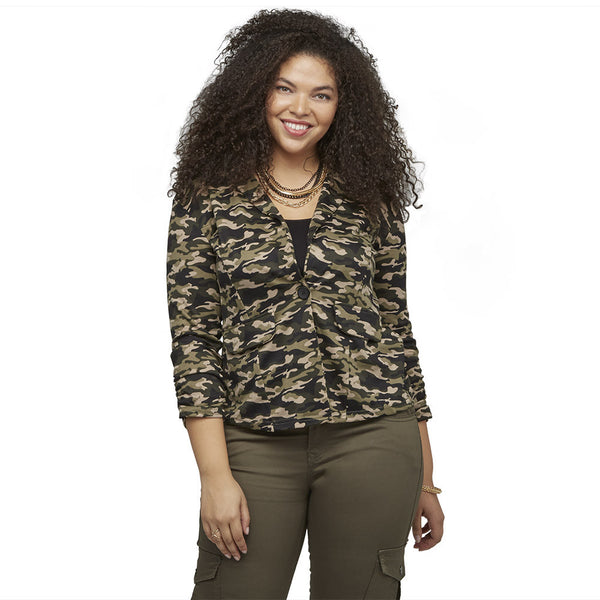 Sleeks For Itself Ruched Camouflage Blazer - Citi Trends Ladies and Plus - Front