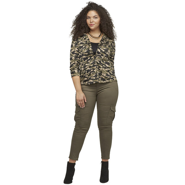 Sleeks For Itself Ruched Camouflage Blazer - Citi Trends Ladies and Plus - Full Body