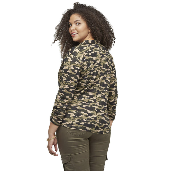 Sleeks For Itself Ruched Camouflage Blazer - Citi Trends Ladies and Plus - Back