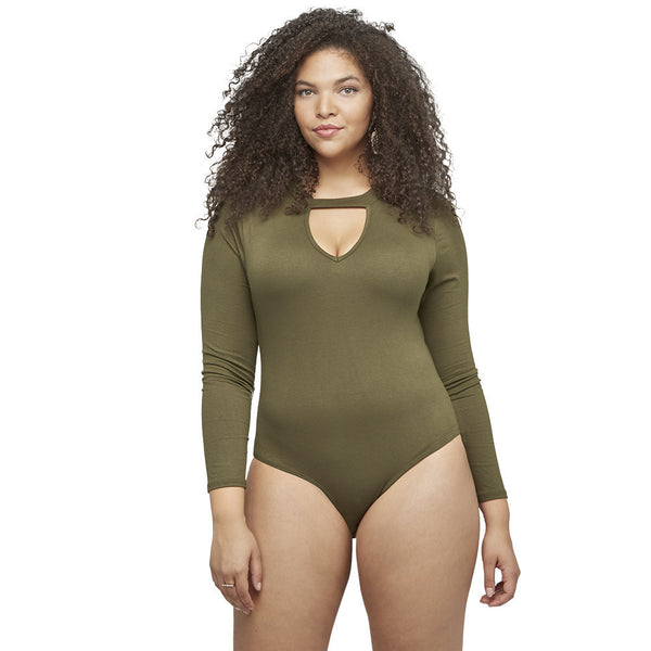 Peek-A-Boo Olive Cutout Bodysuit - Citi Trends Ladies and Juniors - Front