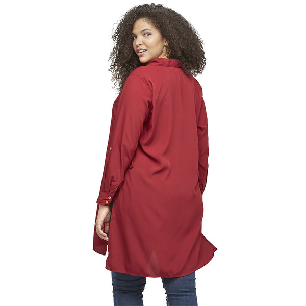 Lace By Example Burgundy Button-Up Tunic - Citi Trends Ladies and Plus - Back