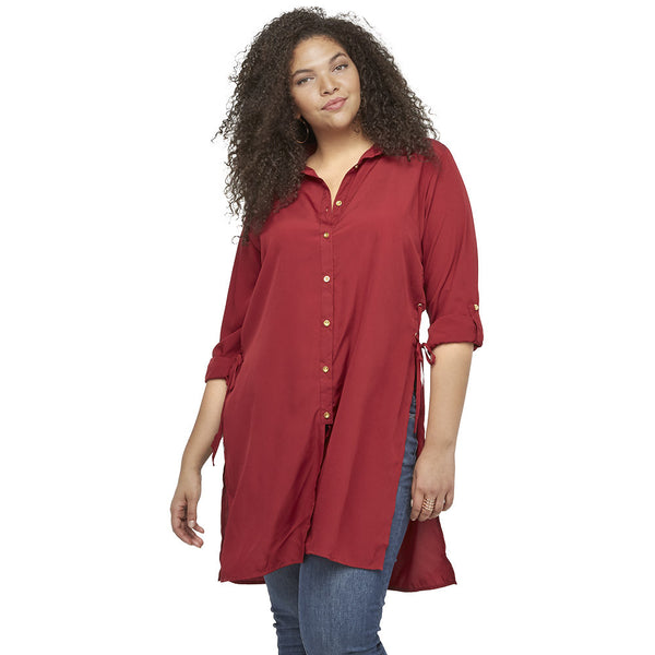 Lace By Example Burgundy Button-Up Tunic - Citi Trends Ladies and Plus - Front