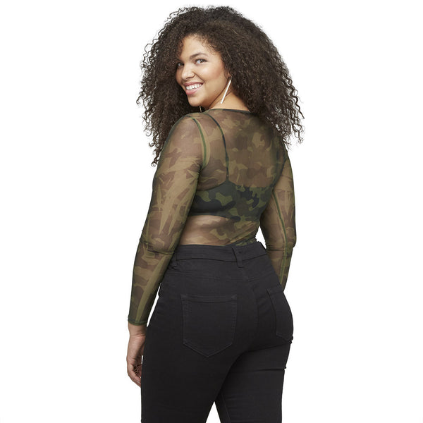 Sheer Intentions Camo Mesh Bodysuit - Citi Trends Pus - Back