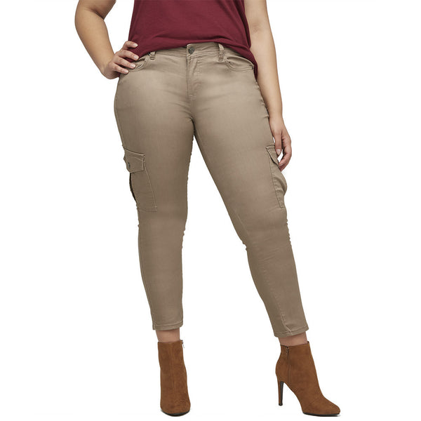 Stretch Back And Relax Khaki Cargo Skinny Pant - Citi Trends Plus and Ladies - Front