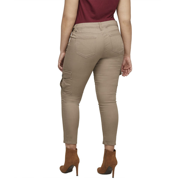Stretch Back And Relax Khaki Cargo Skinny Pant - Citi Trends Plus and Ladies - Back