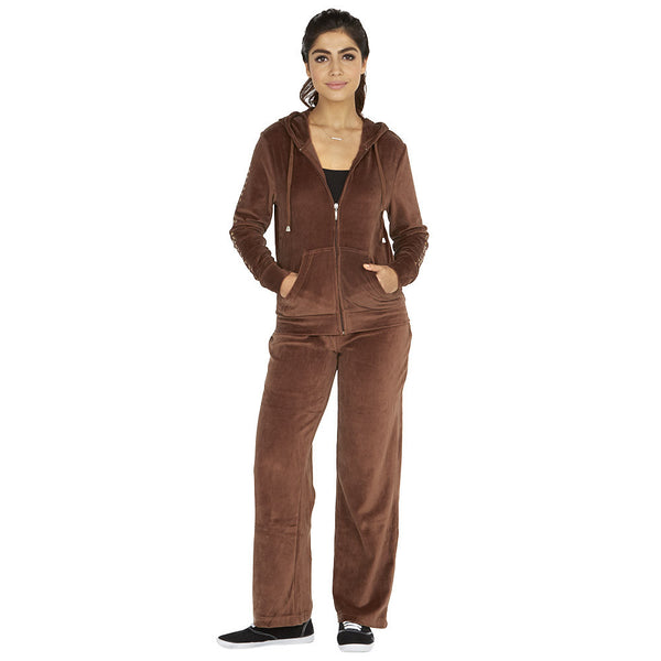 Style At Your Leisure Brown Velour 2-Piece Set With Studded Sleeves - Citi Trends Ladies - Front