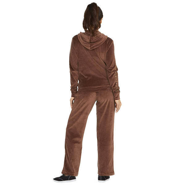 Style At Your Leisure Brown Velour 2-Piece Set With Studded Sleeves - Citi Trends Ladies - Back