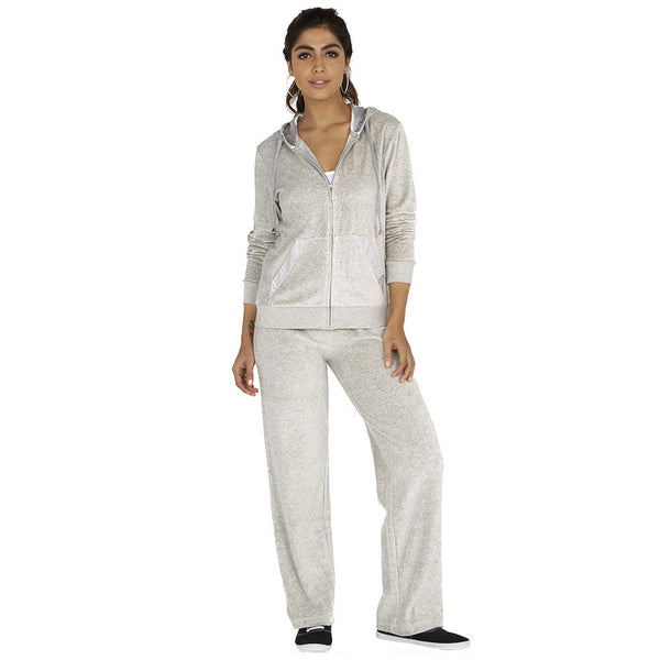 Glisten Up Grey 2-Piece Velour Set With Rhinestone Trim - Citi Trends Ladies - Front