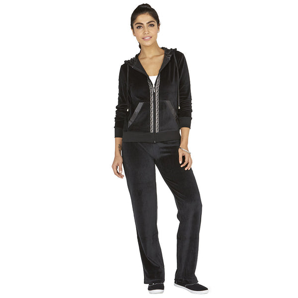 Glisten Up Black 2-Piece Velour Set With Rhinestone Trim - Citi Trends Ladies - Front