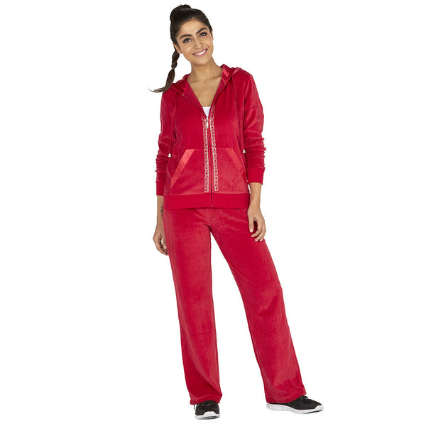 Glisten Up Red 2-Piece Velour Set With Rhinestone Trim - Citi Trends Ladies - Front