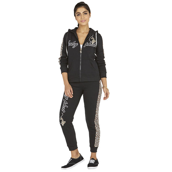 Cheetah Chill Baby Phat Black Fleece Hoodie - Citi Trends Ladies - Full-Length Front