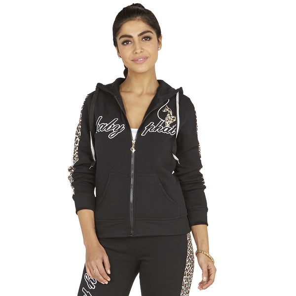 Cheetah Chill Baby Phat Black Fleece Hoodie - Citi Trends Ladies - Front