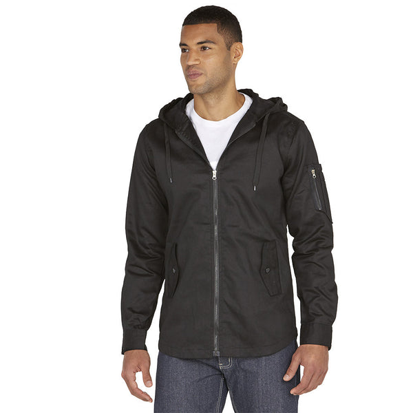 Top It Off Black Fishtail-Hem Hooded Jacket - Citi Trends Mens - Front