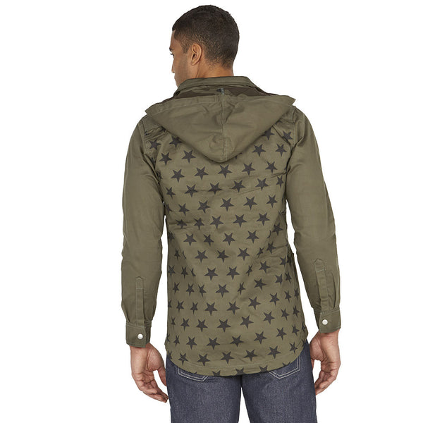 Star Treatment Olive Hooded Anorak Jacket - Citi Trends Mens - Back