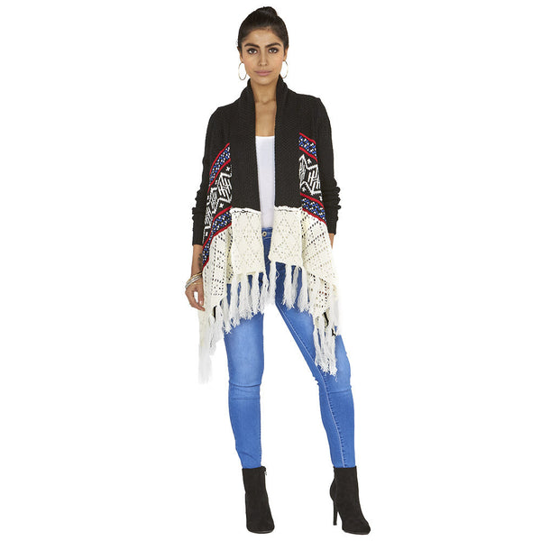 Fringe The Limit Aztec Knit Flyaway Cardigan - Citi Trends Ladies - Front