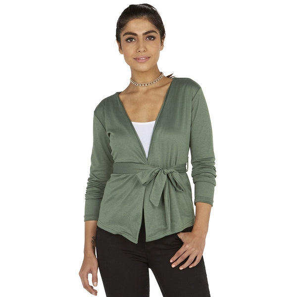 Wrap Station Green Belted Cardigan - Citi Trends Ladies - Front