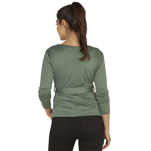 Wrap Station Green Belted Cardigan - Citi Trends Ladies - Back