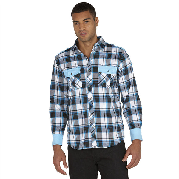 Get In Check Turquoise Plaid Button-Down - Citi Trends Mens - Front