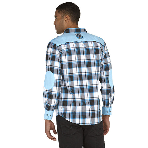 Get In Check Turquoise Plaid Button-Down - Citi Trends Mens - Back